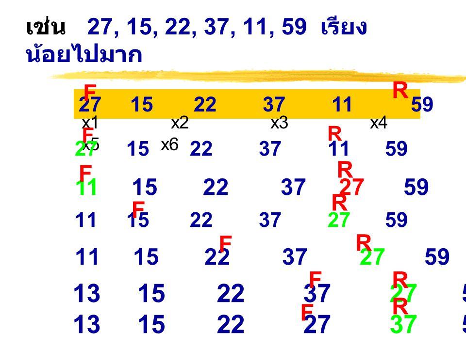 เช่น 27, 15, 22, 37, 11, 59 เรียง น้อยไปมาก R. F. 27 15 22 37 11 59.