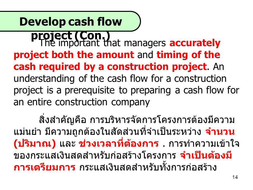 Develop cash flow project (Con.)