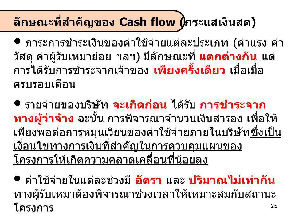 ลักษณะที่สำคัญของ Cash flow (กระแสเงินสด)