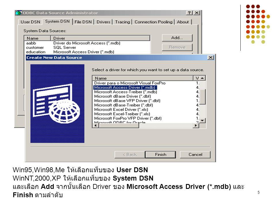 Win95,Win98,Me ให้เลือกแท็บของ User DSN