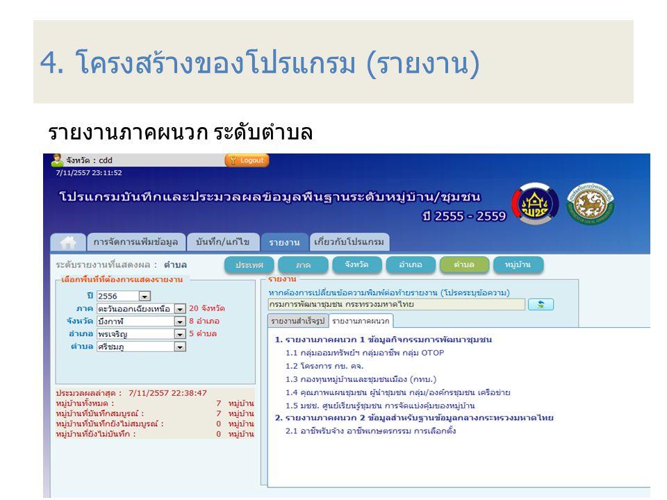 4. โครงสร้างของโปรแกรม (รายงาน)