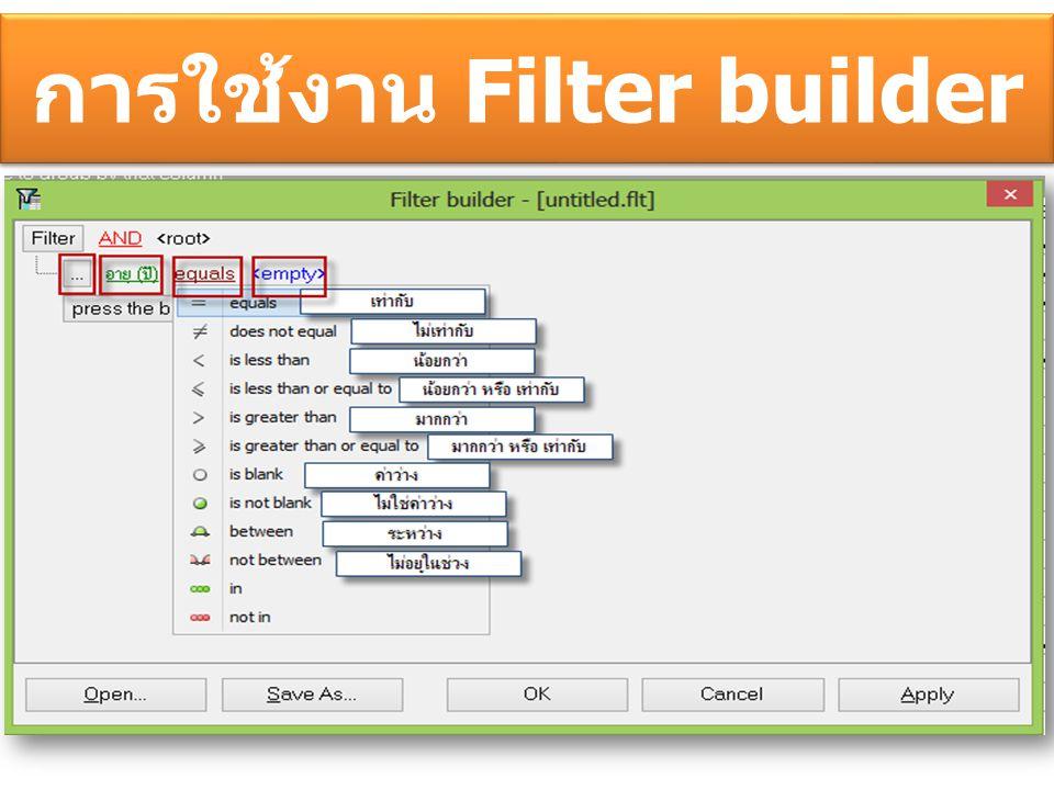 การใช้งาน Filter builder