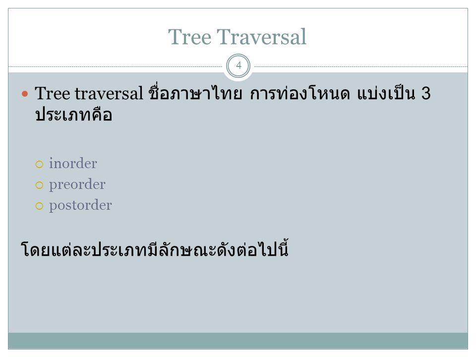 Tree Traversal Tree traversal ชื่อภาษาไทย การท่องโหนด แบ่งเป็น 3 ประเภทคือ. inorder. preorder. postorder.