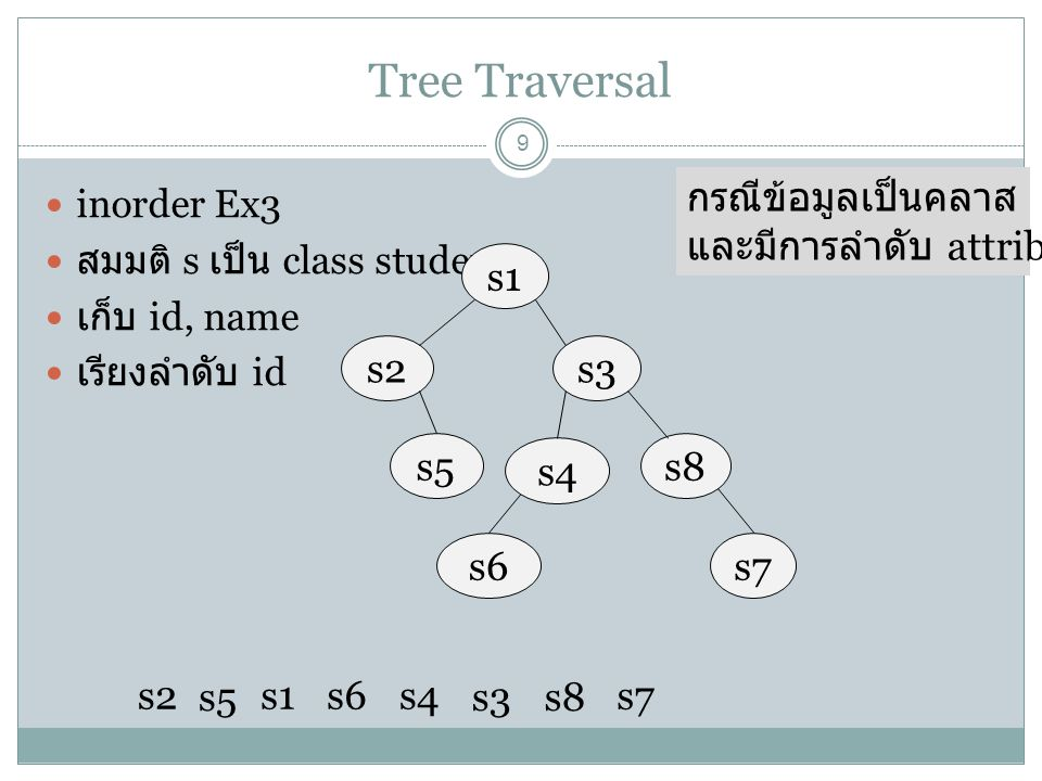 Tree Traversal กรณีข้อมูลเป็นคลาส และมีการลำดับ attribute s1 s2 s3 s5
