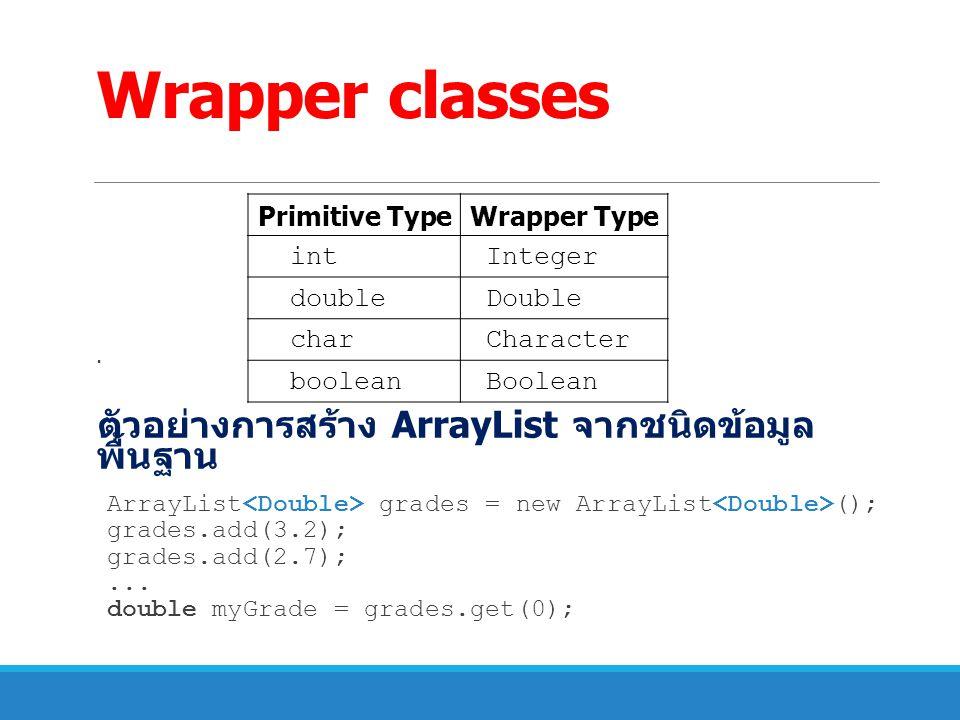Wrapper classes ตัวอย่างการสร้าง ArrayList จากชนิดข้อมูลพื้นฐาน