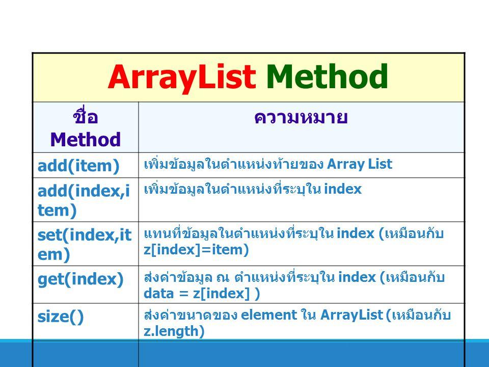 ArrayList Method ชื่อ Method ความหมาย add(item) add(index,item)