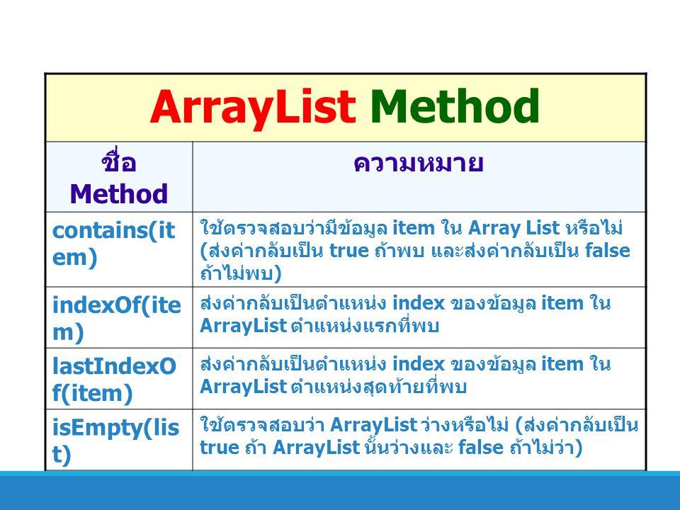 ArrayList Method ชื่อ Method ความหมาย contains(item) indexOf(item)