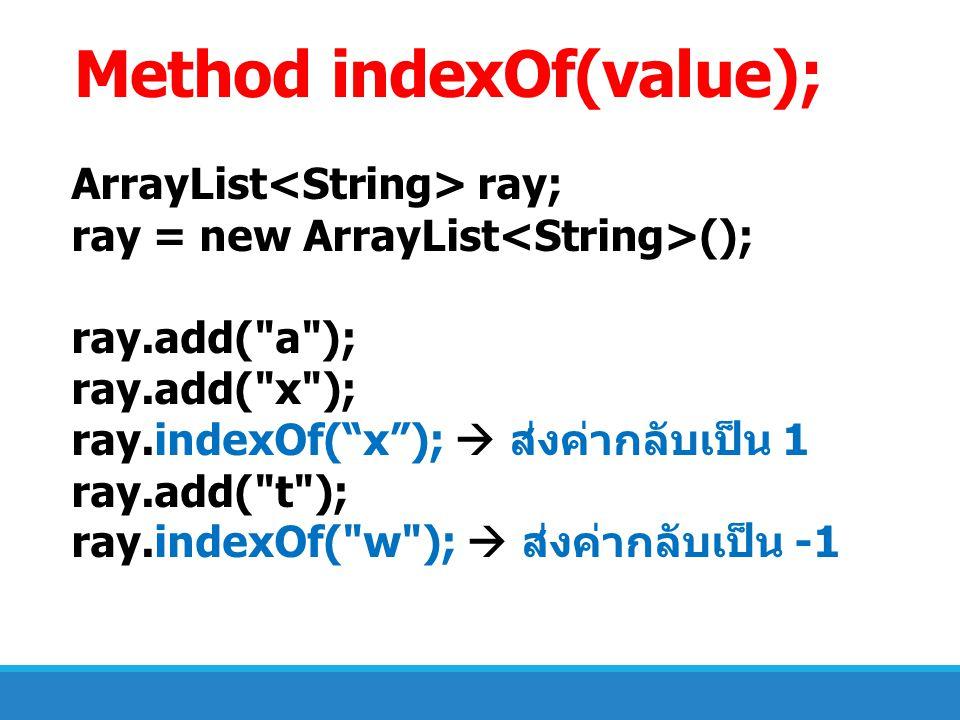 Method indexOf(value);