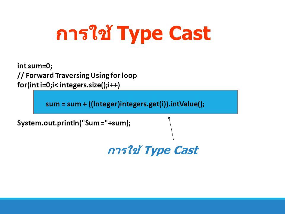 การใช้ Type Cast การใช้ Type Cast int sum=0;