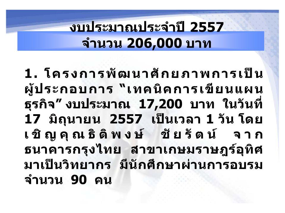 งบประมาณประจำปี 2557 จำนวน 206,000 บาท