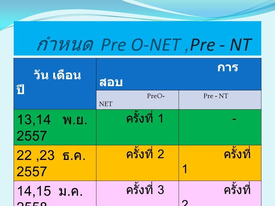 กำหนด Pre O-NET ,Pre - NT 13,14 พ.ย. 2557 22 ,23 ธ.ค. 2557