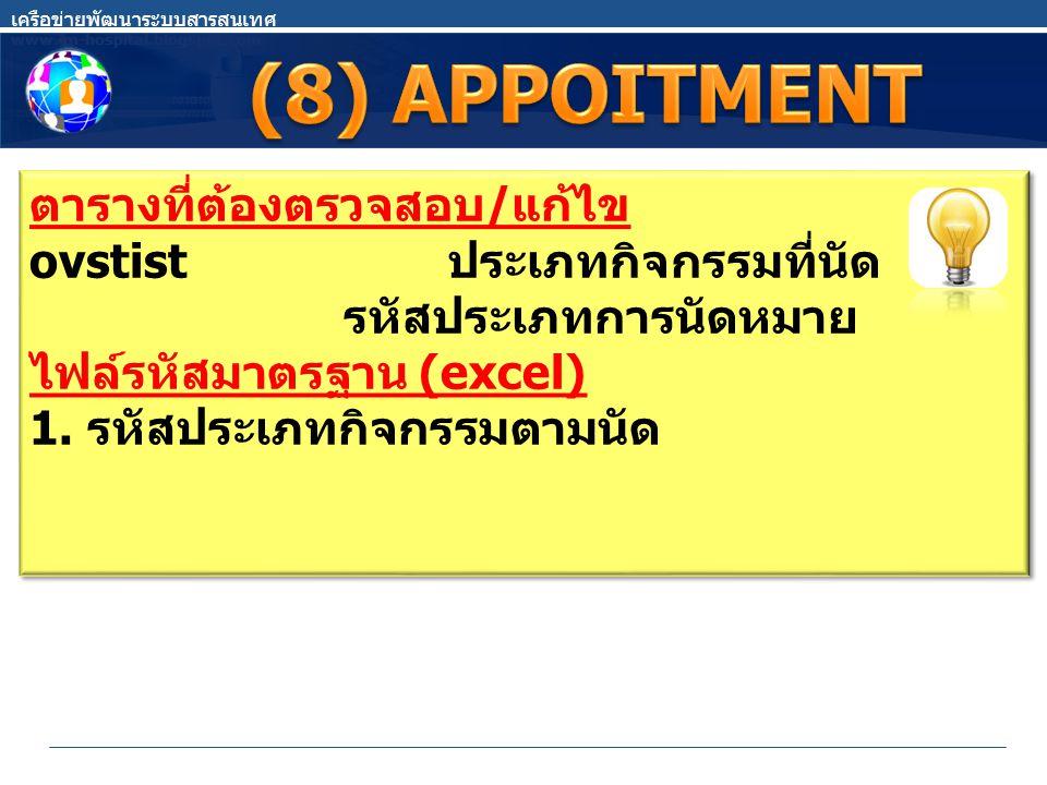(8) APPOITMENT ตารางที่ต้องตรวจสอบ/แก้ไข ovstist ประเภทกิจกรรมที่นัด