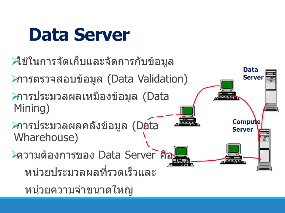 Data Server ใช้ในการจัดเก็บและจัดการกับข้อมูล