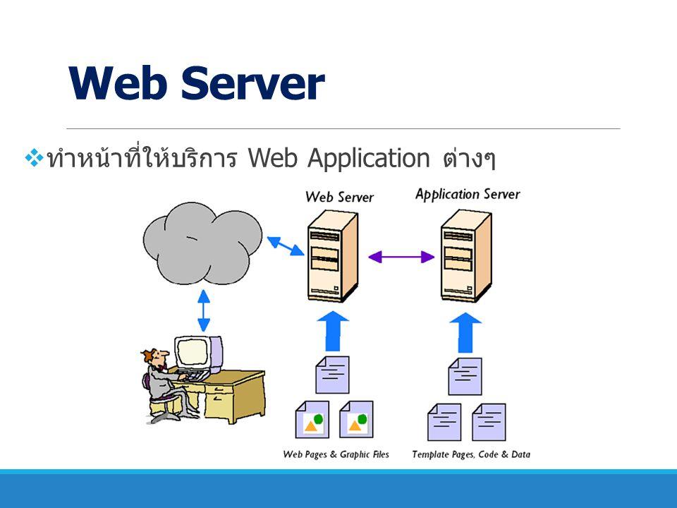 Web Server ทำหน้าที่ให้บริการ Web Application ต่างๆ