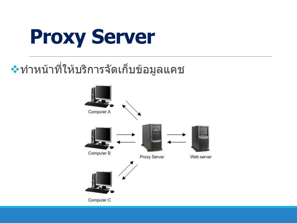 Proxy Server ทำหน้าที่ให้บริการจัดเก็บข้อมูลแคช