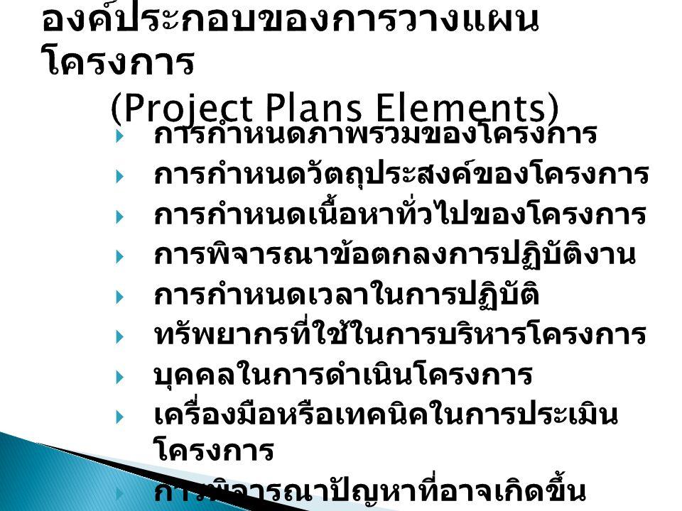 องค์ประกอบของการวางแผนโครงการ (Project Plans Elements)