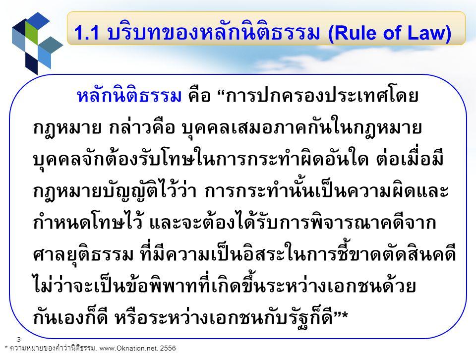 1.1 บริบทของหลักนิติธรรม (Rule of Law)