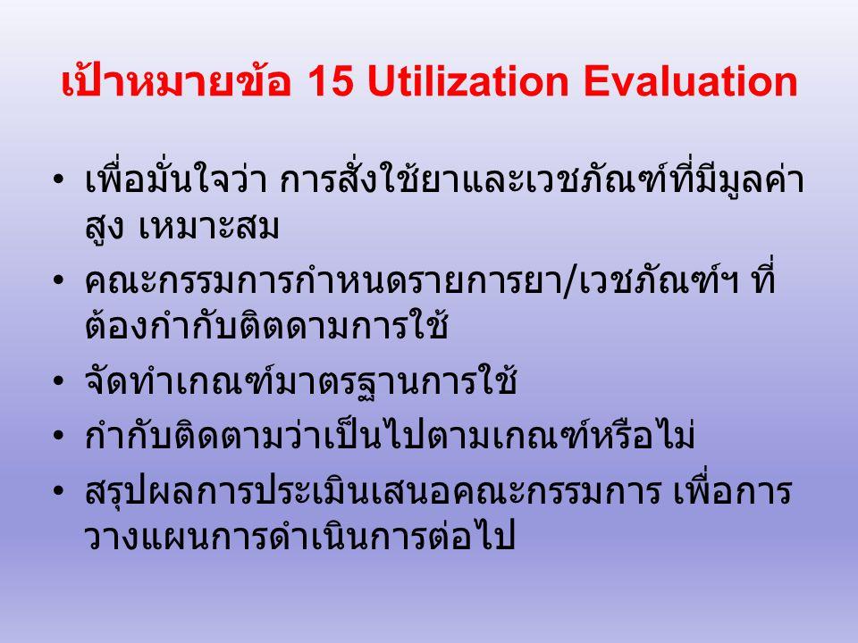 เป้าหมายข้อ 15 Utilization Evaluation