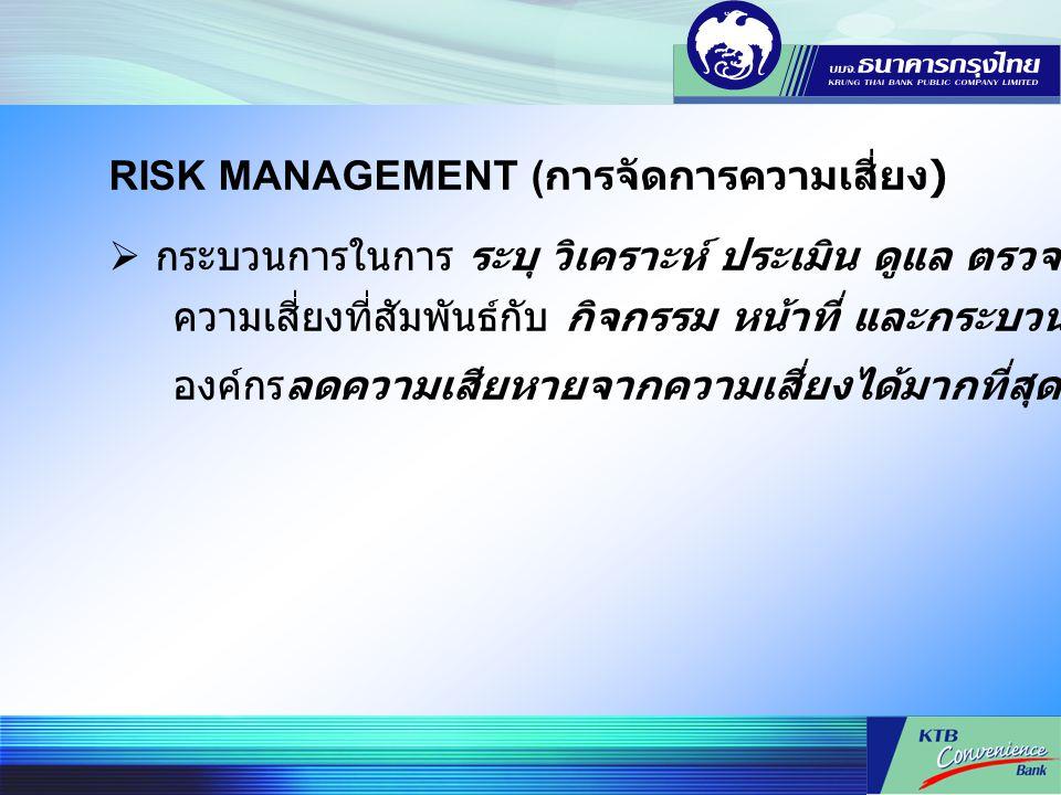 RISK MANAGEMENT (การจัดการความเสี่ยง)