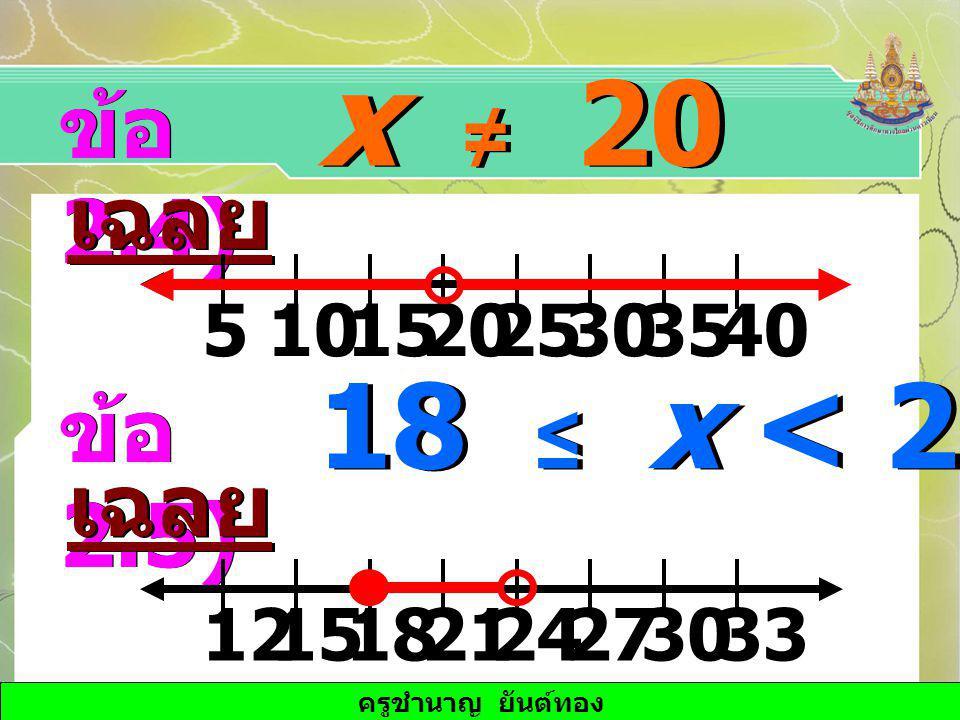 x ≠ 20 18 ≤ x < 24 ข้อ 2.4) เฉลย ข้อ 2.5) เฉลย 15 10 25 20 30 5 35