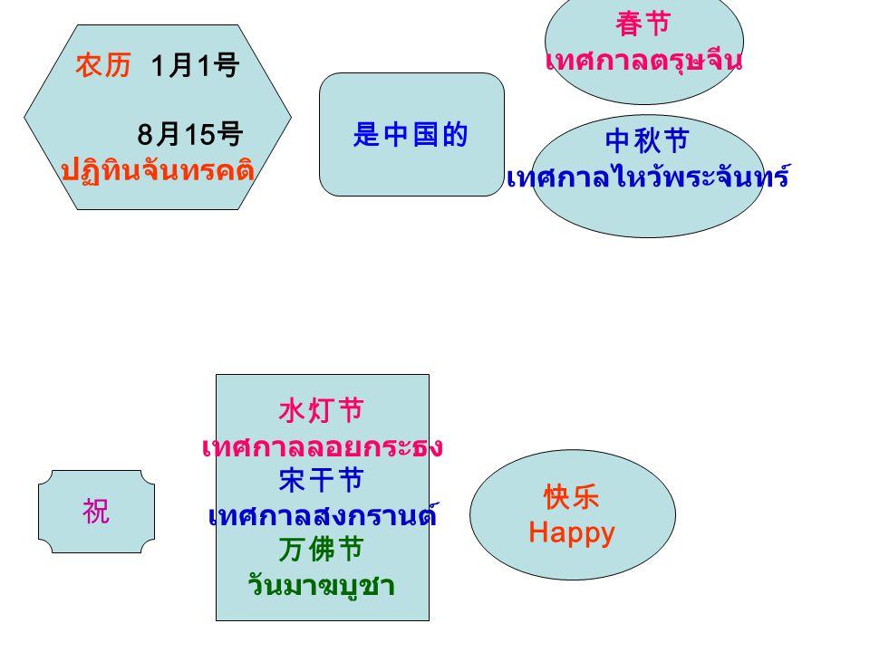 春节 เทศกาลตรุษจีน. 农历 1月1号. 8月15号. ปฏิทินจันทรคติ 是中国的. 中秋节. เทศกาลไหว้พระจันทร์ 水灯节. เทศกาลลอยกระธง.