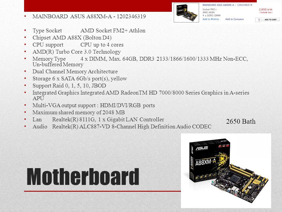 Motherboard 2650 Bath MAINBOARD ASUS A88XM-A - 1202346319