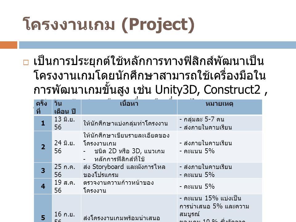 โครงงานเกม (Project)