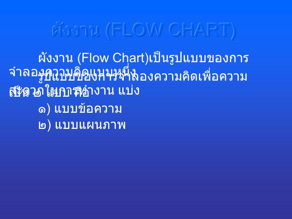 ผังงาน (FLOW CHART) ผังงาน (Flow Chart)เป็นรูปแบบของการจำลองความคิดแบบหนึ่ง. รูปแบบของการจำลองความคิดเพื่อความสะดวกในการทำงาน แบ่ง.