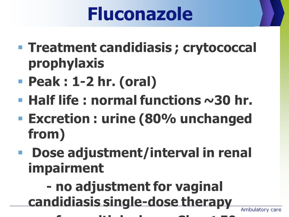 Fluconazole Treatment candidiasis ; crytococcal prophylaxis