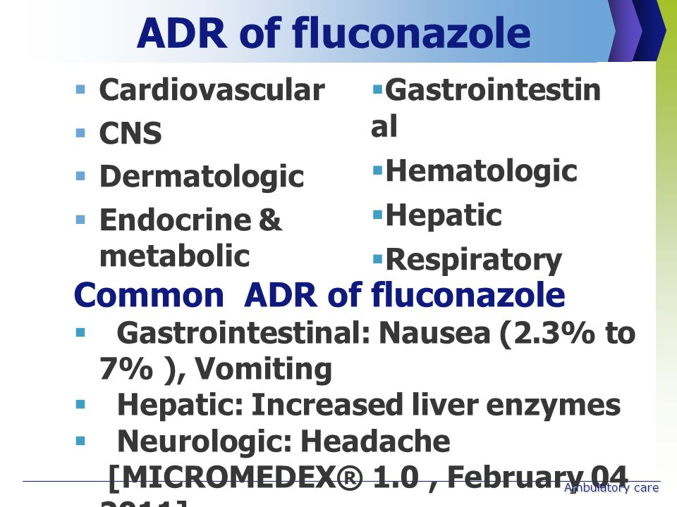 ADR of fluconazole Common ADR of fluconazole Cardiovascular CNS