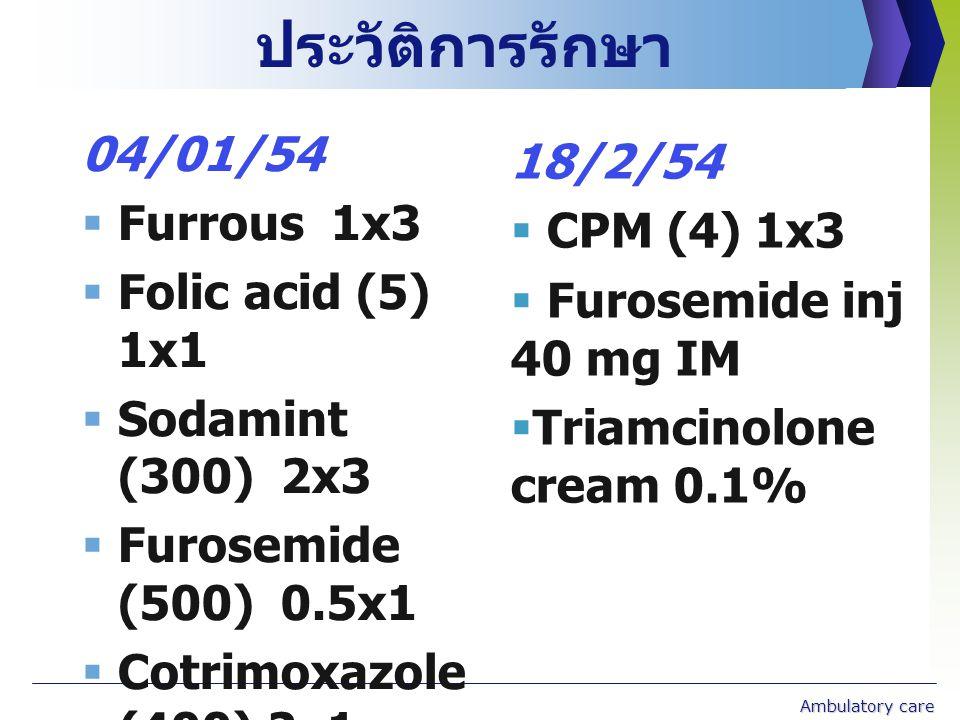 ประวัติการรักษา 04/01/54 18/2/54 Furrous 1x3 CPM (4) 1x3