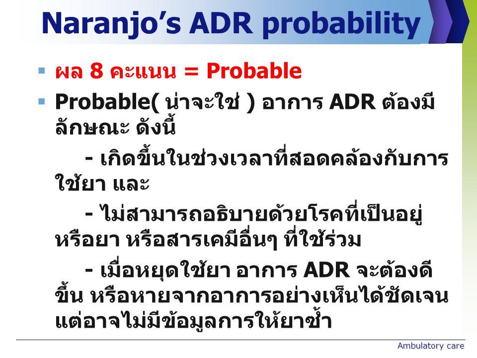 Naranjo's ADR probability