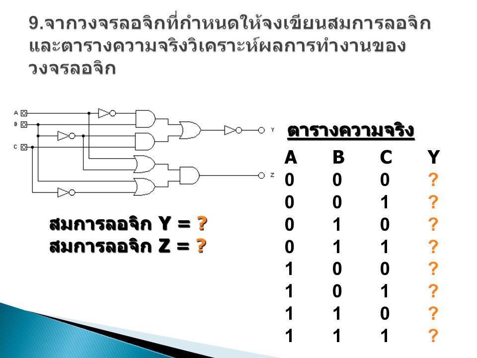 9.จากวงจรลอจิกที่กำหนดให้จงเขียนสมการลอจิกและตารางความจริงวิเคราะห์ผลการทำงานของวงจรลอจิก