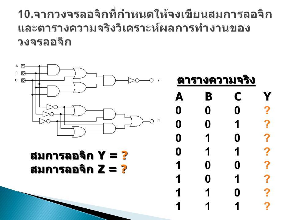 10.จากวงจรลอจิกที่กำหนดให้จงเขียนสมการลอจิกและตารางความจริงวิเคราะห์ผลการทำงานของวงจรลอจิก