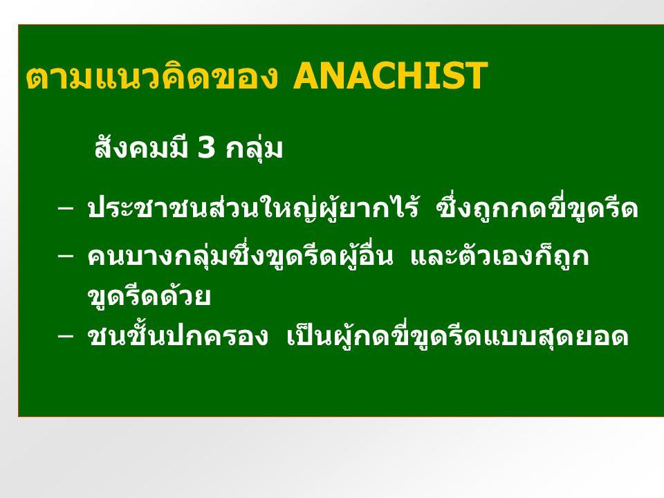 สังคมมี 3 กลุ่ม ตามแนวคิดของ ANACHIST