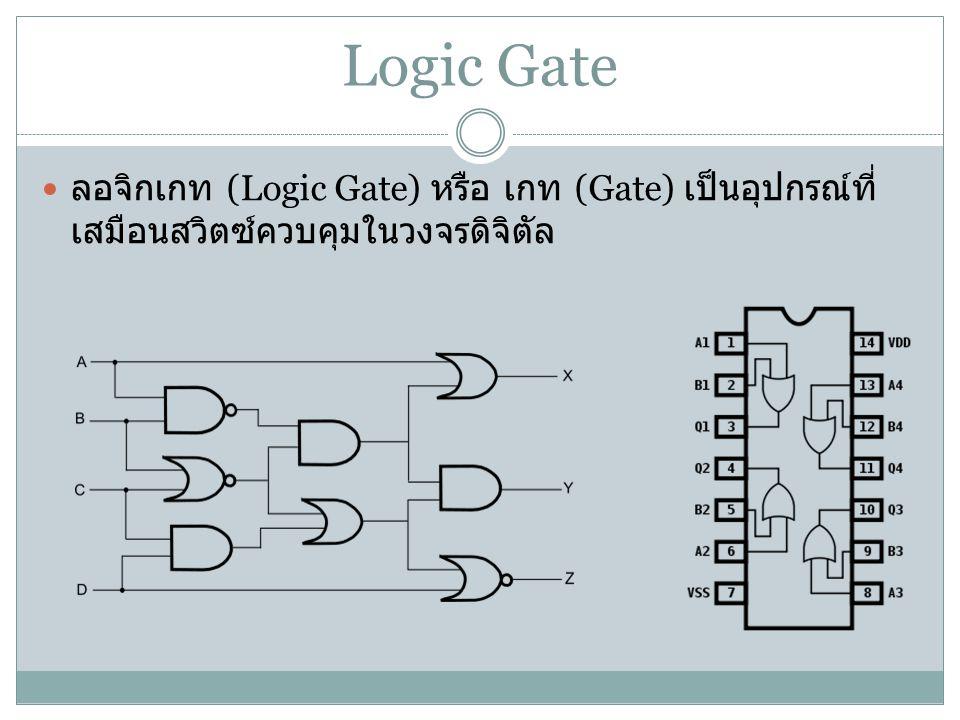 Logic Gate ลอจิกเกท (Logic Gate) หรือ เกท (Gate) เป็นอุปกรณ์ที่เสมือนสวิตซ์ควบคุมในวงจรดิจิตัล