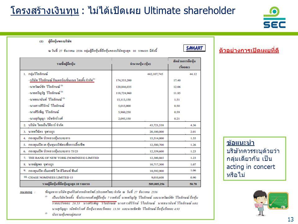โครงสร้างเงินทุน : ไม่ได้เปิดเผย Ultimate shareholder
