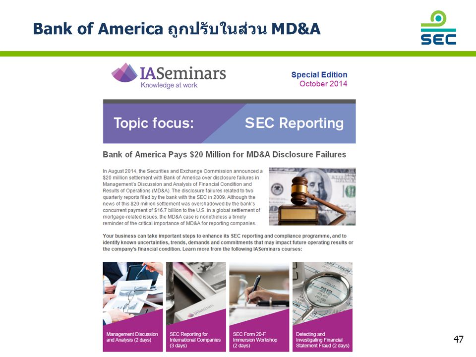 Bank of America ถูกปรับในส่วน MD&A