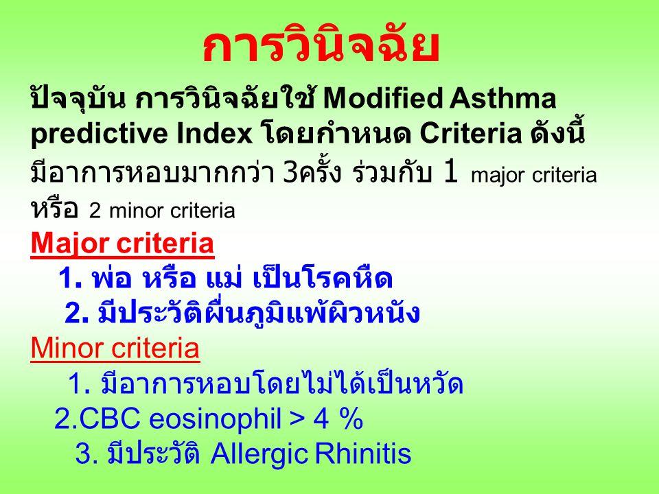 การวินิจฉัย ปัจจุบัน การวินิจฉัยใช้ Modified Asthma predictive Index โดยกำหนด Criteria ดังนี้