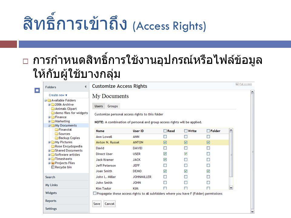สิทธิ์การเข้าถึง (Access Rights)
