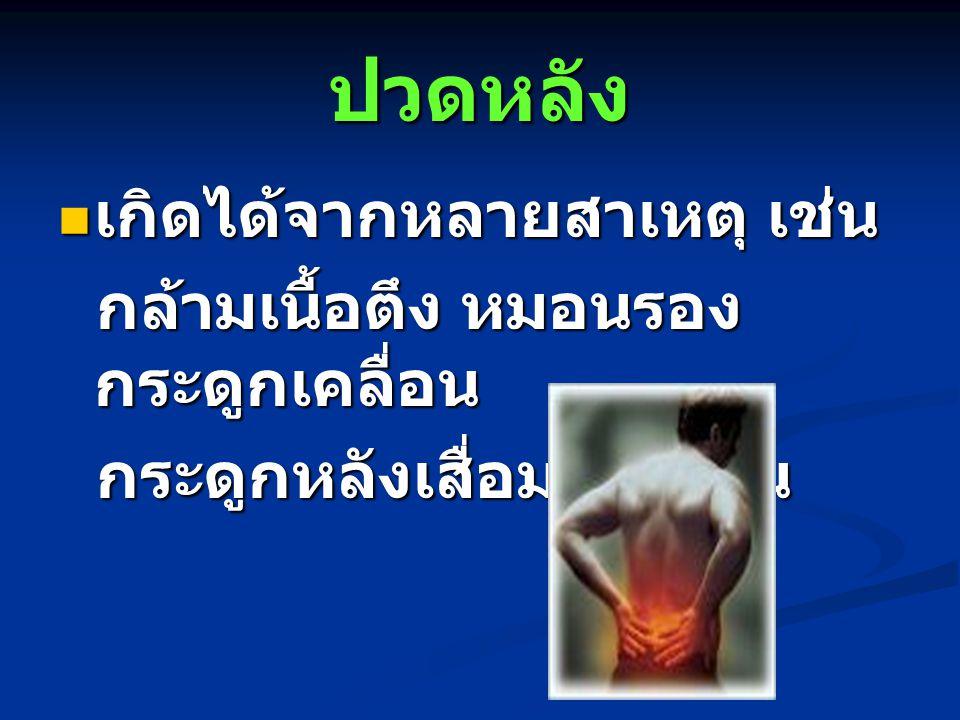 ปวดหลัง เกิดได้จากหลายสาเหตุ เช่น กล้ามเนื้อตึง หมอนรองกระดูกเคลื่อน