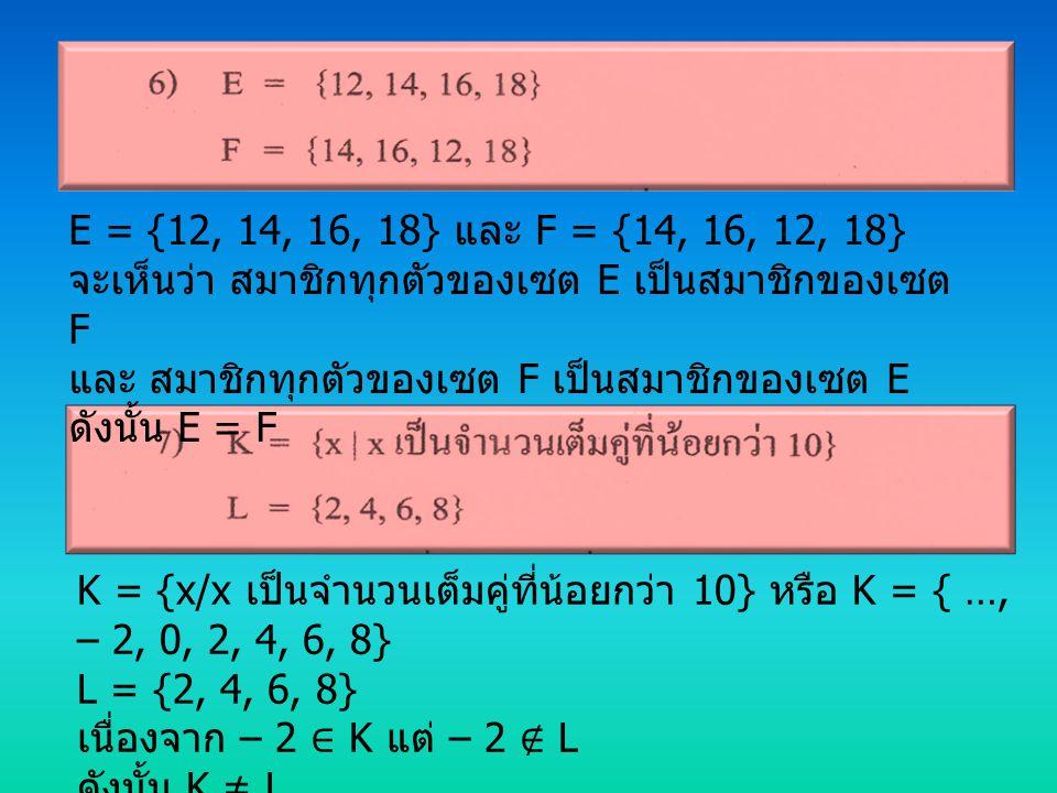 E = {12, 14, 16, 18} และ F = {14, 16, 12, 18} จะเห็นว่า สมาชิกทุกตัวของเซต E เป็นสมาชิกของเซต F. และ สมาชิกทุกตัวของเซต F เป็นสมาชิกของเซต E.