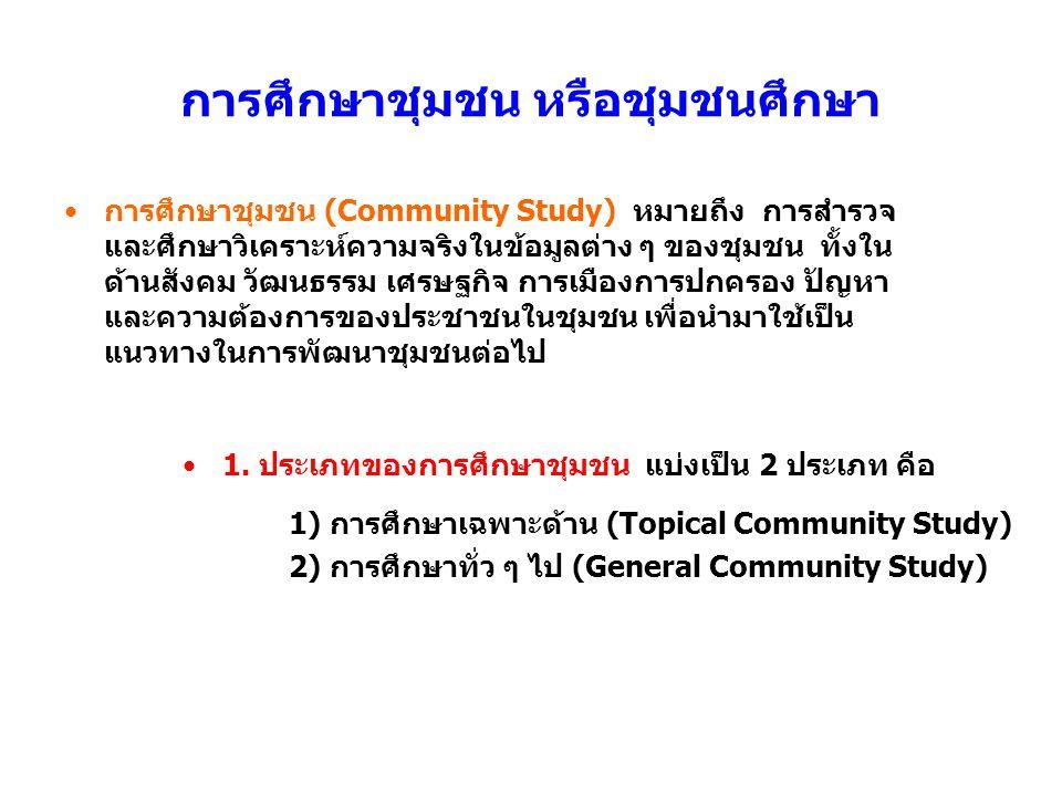 การศึกษาชุมชน หรือชุมชนศึกษา