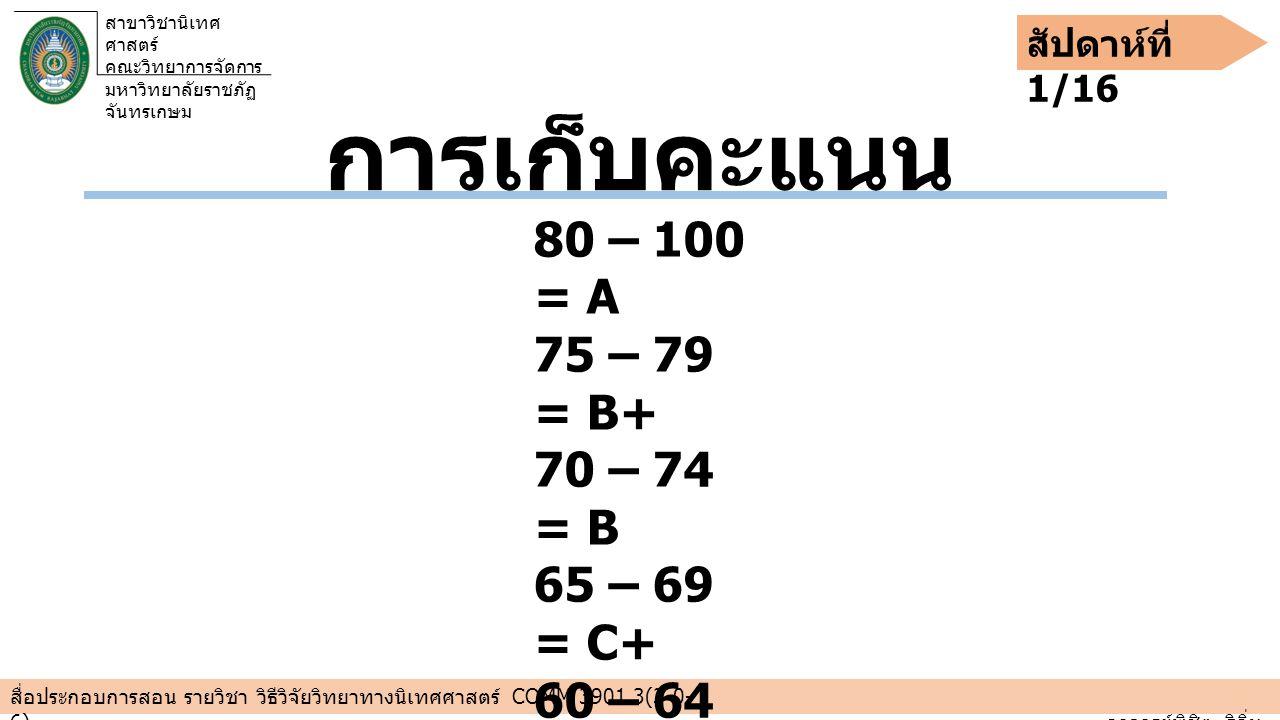 การเก็บคะแนน 80 – 100 = A 75 – 79 = B+ 70 – 74 = B 65 – 69 = C+