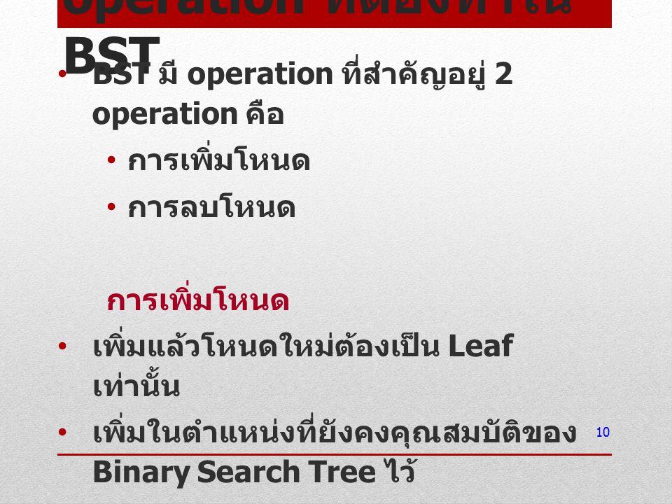 operation ที่ต้องทำใน BST