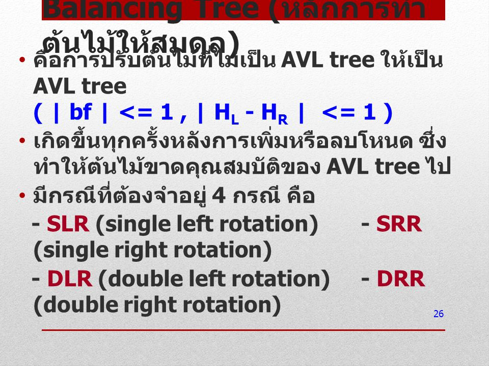Balancing Tree (หลักการทำต้นไม้ให้สมดุล)