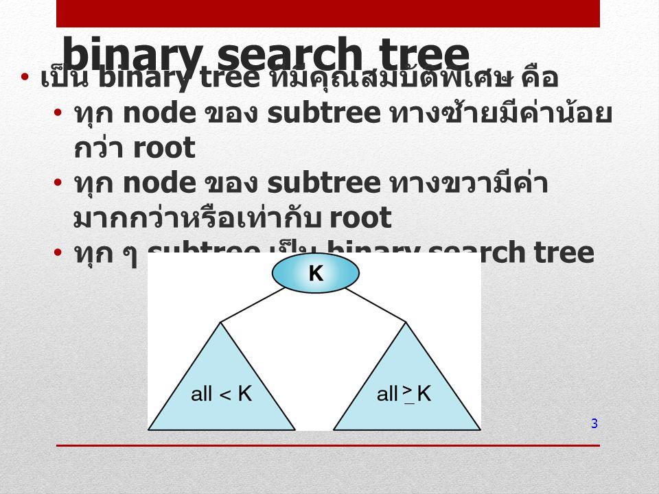 binary search tree เป็น binary tree ที่มีคุณสมบัติพิเศษ คือ