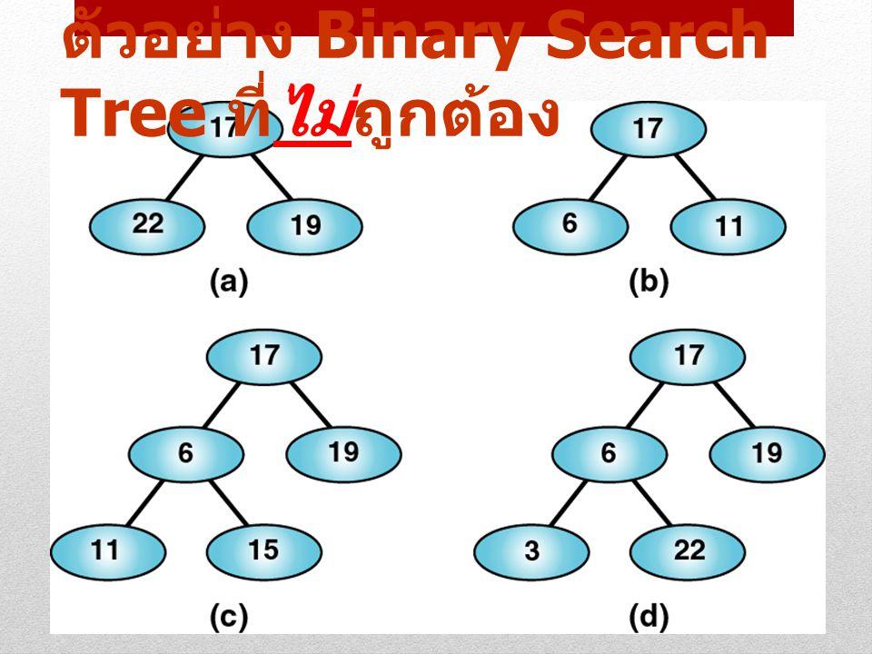 ตัวอย่าง Binary Search Tree ที่ไม่ถูกต้อง