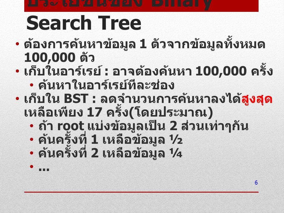 ประโยชน์ของ Binary Search Tree