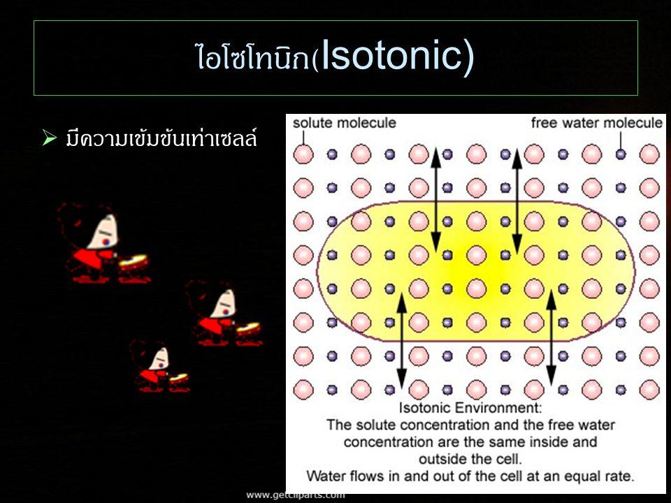 ไอโซโทนิก(Isotonic) มีความเข้มข้นเท่าเซลล์